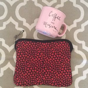 NWOT;  J Crew clutch; black with red hearts